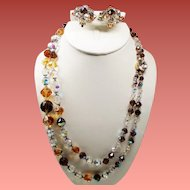 Vintage Root Beer Faceted Crystal Bead Double Strand Necklace Cluster Earrings Set