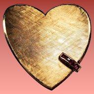 Vintage Retro Modern Large 14K Gold Ruby Heart Pendant Brooch