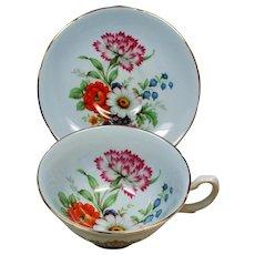 Vintage Royal Grafton England Pale Blue Floral Gold Teacup & Saucer