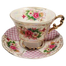 Vintage Royal Halsey Roses Pink Lattice Teacup and Saucer