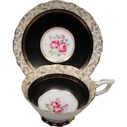 Vintage Royal Stafford England Pink Roses Black Gold Teacup & Saucer