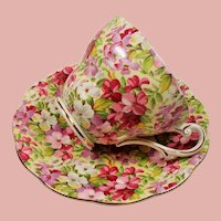 Vintage Royal Standard England Chintz Virginia Stock Teacup and Saucer