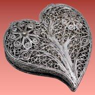 Vintage Silver Plate Filigree Heart Trinket Pill Box