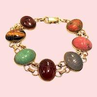 Vintage Gold Filled Carved Gemstone Scarab Bracelet