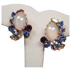 Vintage Schoffel Austria Faux Moonstone Rhinestone Earrings