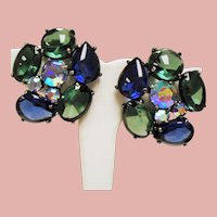 Vintage Schiaparelli Huge Blue Green Cabochon Earrings