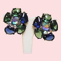 Vintage Schiaparelli Huge Blue Green Open Back Cabochon Stone Earrings