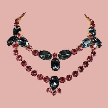 Vintage Schiaparelli Smoke and Pink Rhinestone Swag Necklace