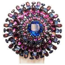 Vintage Unsigned Schreiner Huge Tiered Rhinestone Brooch