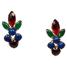 Vintage Schreiner Faux Cabochon Gemstone Earrings