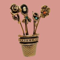 Vintage Schrager Stick Pins in a Thimble Brooch