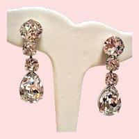 Vintage Schreiner New York Large Colorless Rhinestone Drop Earrings