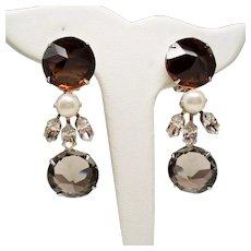 Vintage Schreiner Cognac Smoke Inverted Stone Long Drop Pendant Earrings
