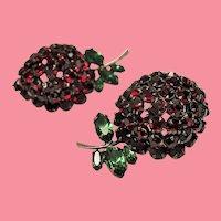 Vintage Pair of Schreiner Rhinestone Berry Brooches Set