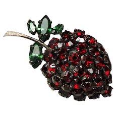 Vintage Unsigned Schreiner Strawberry Red Rhinestone Fruit Brooch