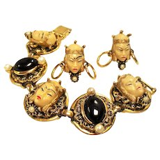Vintage Selro Selini Asian Princess Faces Bracelet Earrings Demi Parure