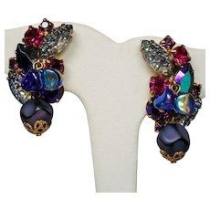 Vintage Molded Sugary Art Glass Violet Raspberry Rhinestone Drippy Bead Climbing Earrings.