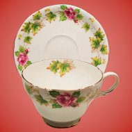 Vintage Shelley Royalty Roses Leaves Teacup and Saucer