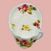 Vintage Shelley Begonia Fluted Teacup & Saucer