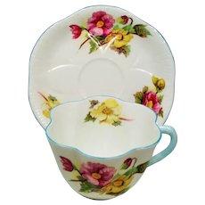 Vintage Shelley Begonia Fluted Teacup & Saucer