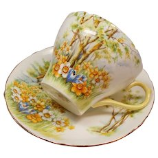 Vintage Shelley Daffodil Time English Bone China Teacup and Saucer