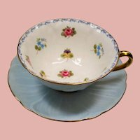 Vintage Shelley Oleander Petite Flowers Baby Blue Teacup & Saucer