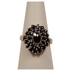 Vintage Garnet Cluster Gilt Silver Ring