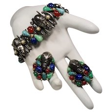 Vintage Signed Art Tribal Mask Multi Color Faux Gemstone Bracelet Earrings Demi Parure