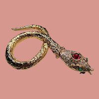 Vintage Coiled Pave Rhinestone Red Cabochon Snake Brooch