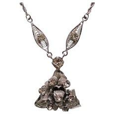 Vintage Spun Sterling Silver Rhinestone Flower Pendant Necklace