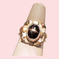 Vintage Star Diopside 10K Sterling Ring