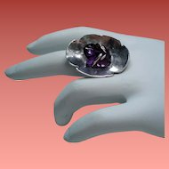 Vintage Carved Amethyst Frog Lily Pad Sterling Ring
