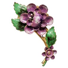 Vintage Purple Enamel on Sterling Flower Spray Brooch