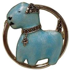 Vintage Art Deco Sterling Enamel Terrier Dog Watch Pin