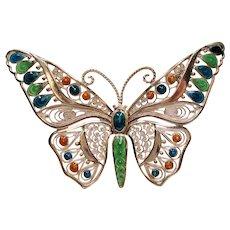 Vintage Germany Enamel Spun Sterling Butterfly Brooch