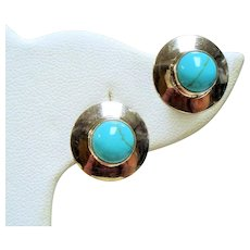 Vintage Simulated Turquoise Sterling Earrings