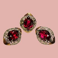 Vintage Large Synthetic Ruby Sterling 10K Rose Gold Ring Earrings Set