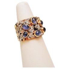 Antique Star Sapphire Rose Cut Diamond 14K Cigar Band Ring