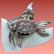 Vintage Mid Century Sterling Dimensional Fish Brooch