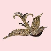 Vintage Rhinestone Sterling Swooping Bird Brooch