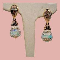 Vintage Swarovski Large Faceted Aurora Borealis Crystal Drop Earrings
