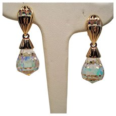 Vintage Swarovski Large Faceted Aurora Borealis Crystal Drop Earrings
