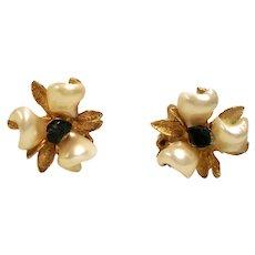 Vintage Swoboda Aventurine Cultured Pearl Flower Earrings