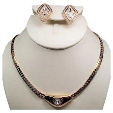 Vintage Swarovski Faceted Trillion Crystal Stones Necklace Earrings Demi Parure