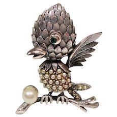 Vintage Tortolani Faux Pearl Rhinestone Figural Bird Brooch