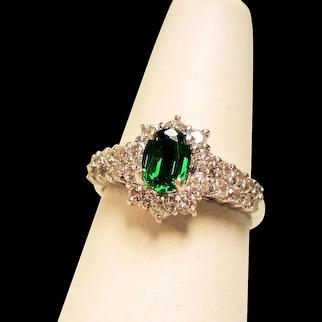 Estate Green Tourmaline Diamond Halo Platinum Ring