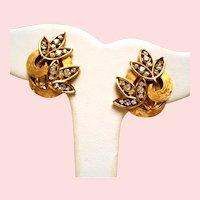 Vintage Trifari Stylized Rhinestone Leaves Earrings
