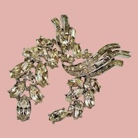 Vintage Alfred Phillipe Trifari Diamante Rhinestone Suspended Wreath Brooch
