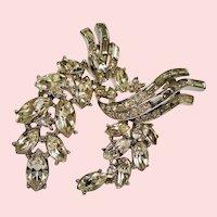 Vintage Alfred Phillipe Trifari Diamante Rhinestone Suspended Wreath Brooch
