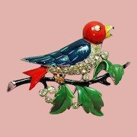 Vintage Trifari Alfred Philippe Enamel Bird on Branch Fur Clip Brooch